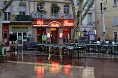 Avignon Cafe in Rain