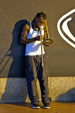 Trombone Player at Night in New Orleans  7279