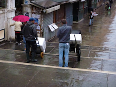 Early morn rain and workers