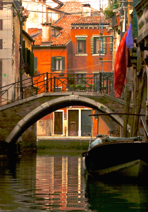 A boat ride through back canal, Venice