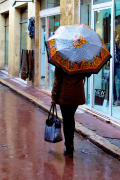 Woman walking in downtown Aix